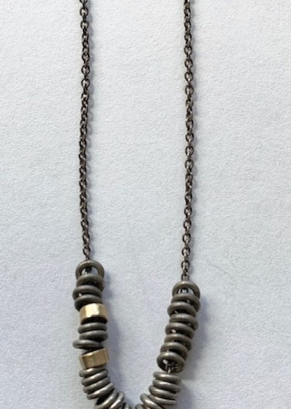 RLD N3295 Mixed Silver and Gold Rings Necklace