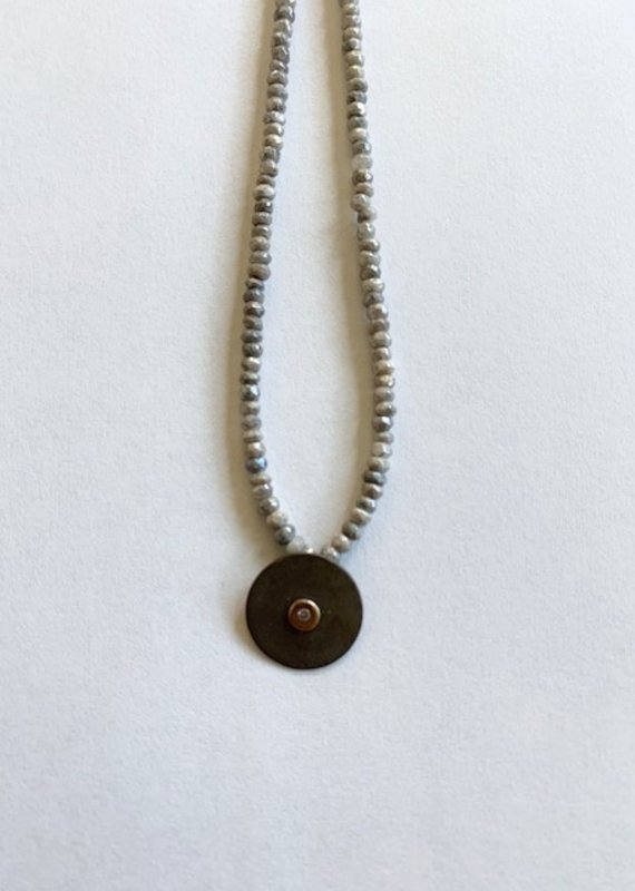 CLP Sterling Silver Diamond Disc Necklace