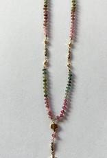 18k gold plated rainbow tourmaline necklace for women