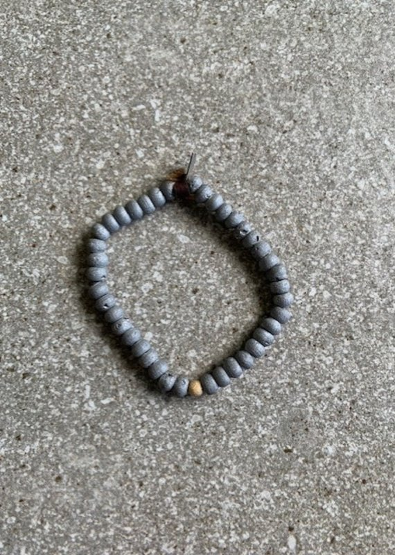CLP Agate and Leather Tie Stretch Bracelet