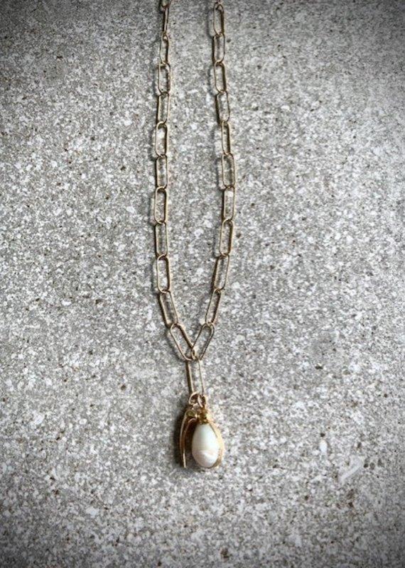 FTBM 14K GF Pearl + Gold Horn Necklace