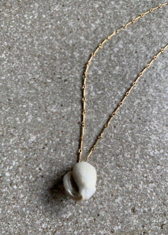 RB 14K GF Druzy Shell Necklace