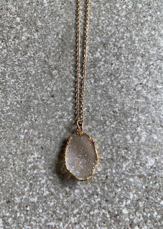 RB 14K GF White Druzy Necklace