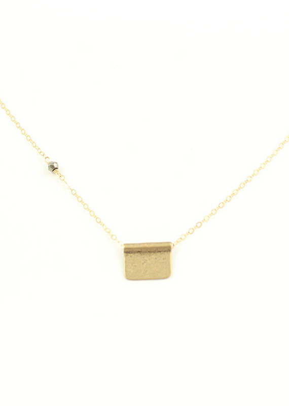 CLP Bronze Tab + Pyrite Charm Necklace