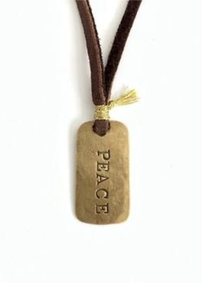 CLP Bronze PEACE Dog Tag on Leather Cord