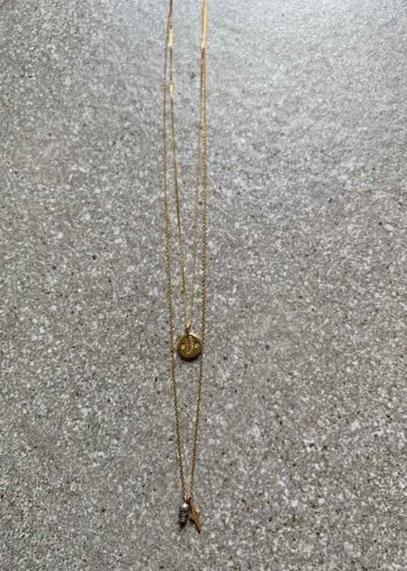 CL 18K/SS Mix Heart+Skull Double Necklace