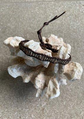 CL Grey Quartz + Silver Leather Bracelet