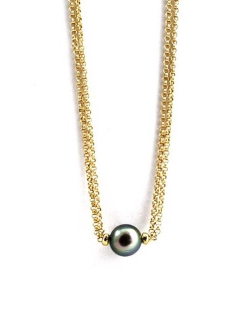 Tahitian Pearl Necklace on Gold Chain