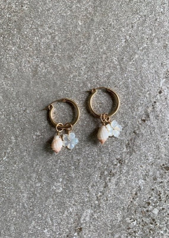RB 14KGF Pink Shell + Mother of Pearl Hibiscus Small Hoop Earrings