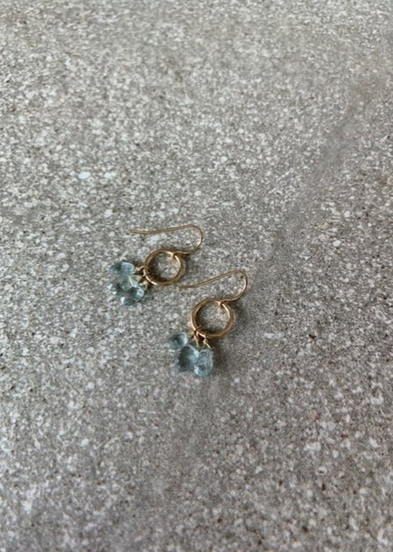 RB 14KGF Aquamarine Drop Earrings