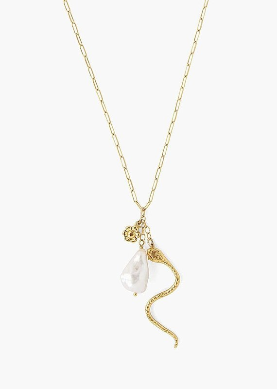 CL 18K GP Serpent + Baroque Pearl Charm Necklace