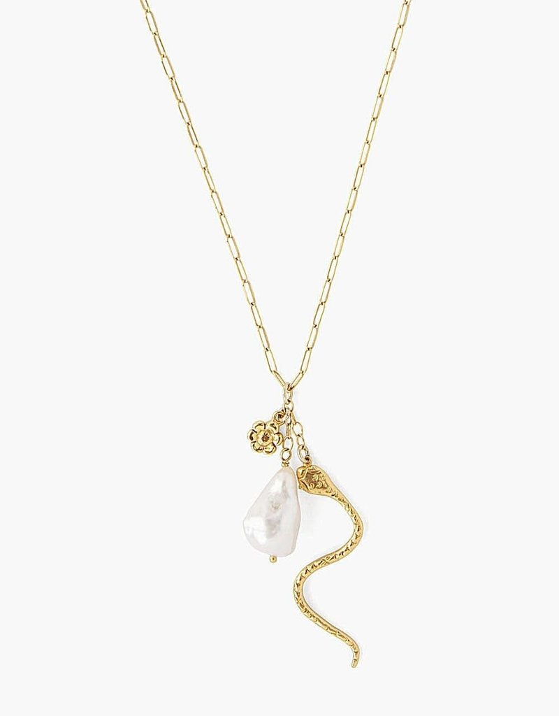 CL NS14184 18k GP White Baroque Pearl + Serpent Charm Necklace