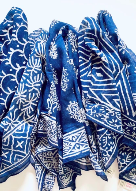 BY THE SEA INDIGO GAUZE BANDANA