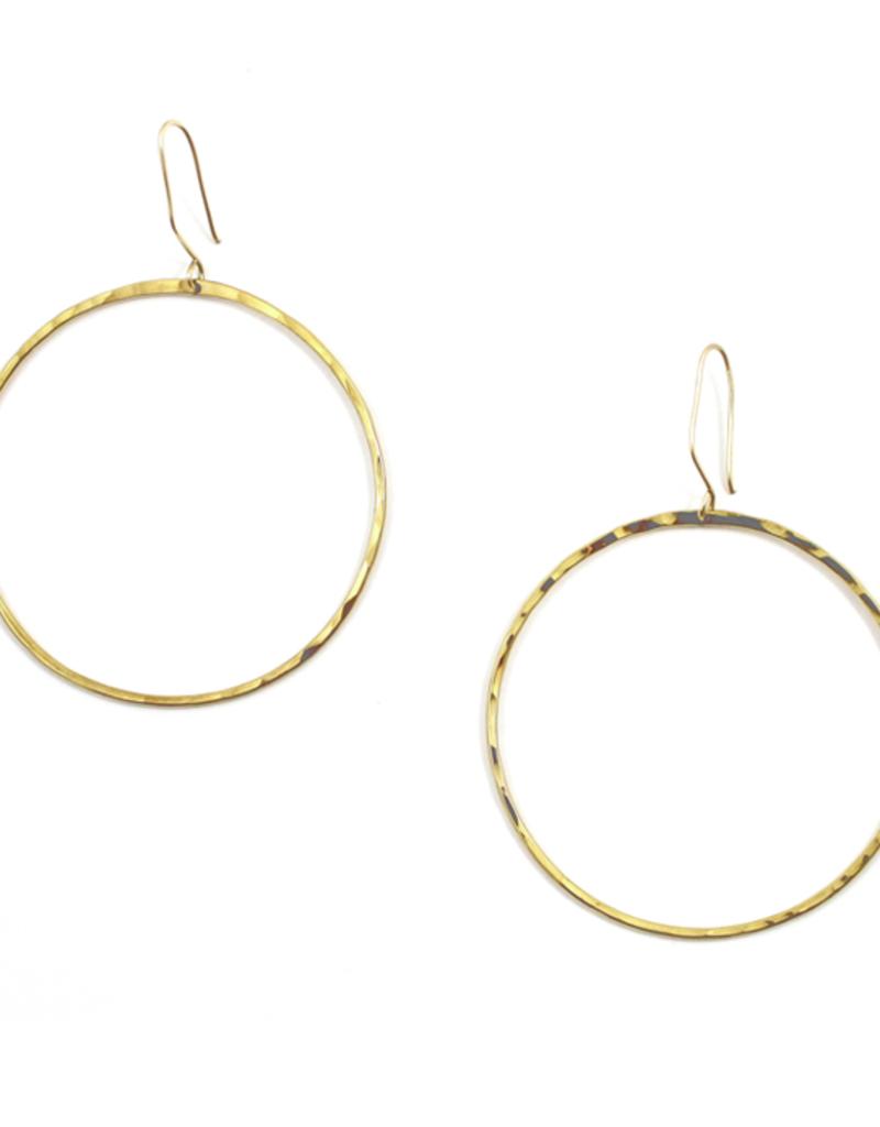 FTBM LG GOLD HAMMERED HOOP EARRINGS