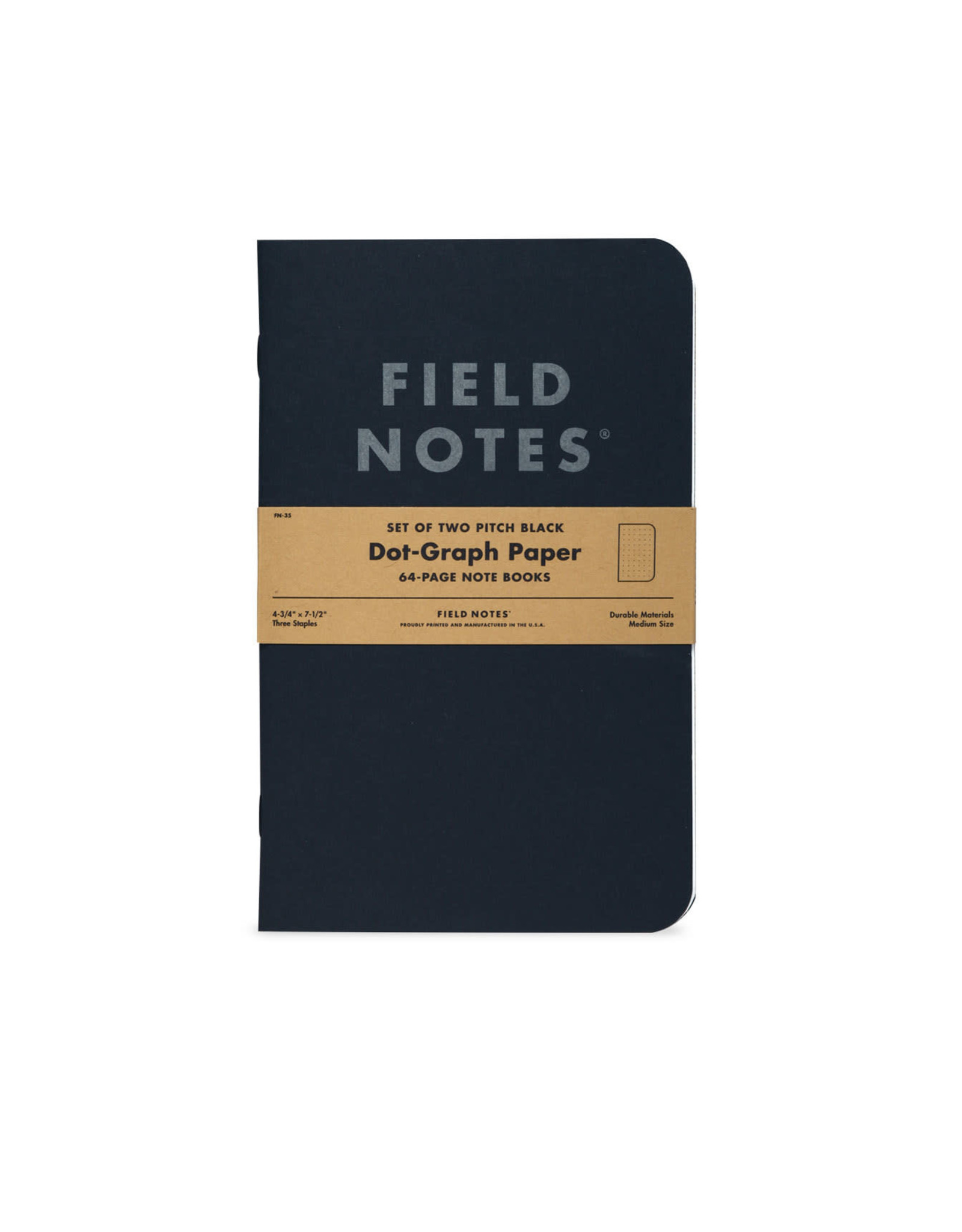 Pitch Black Notebook - Dot-Graph 2-Pack