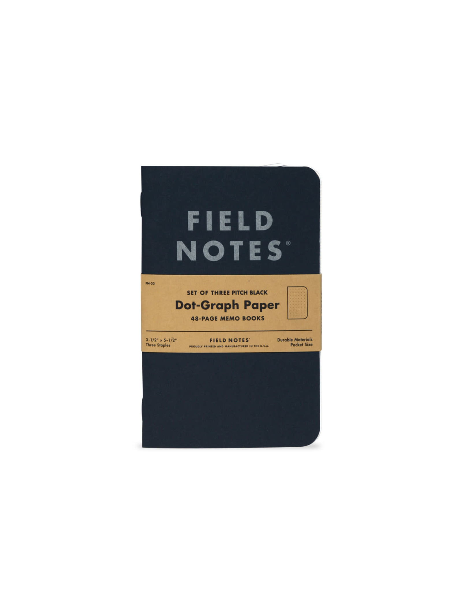 Pitch Black Memo Notebook - Dot-Graph 3-Pack