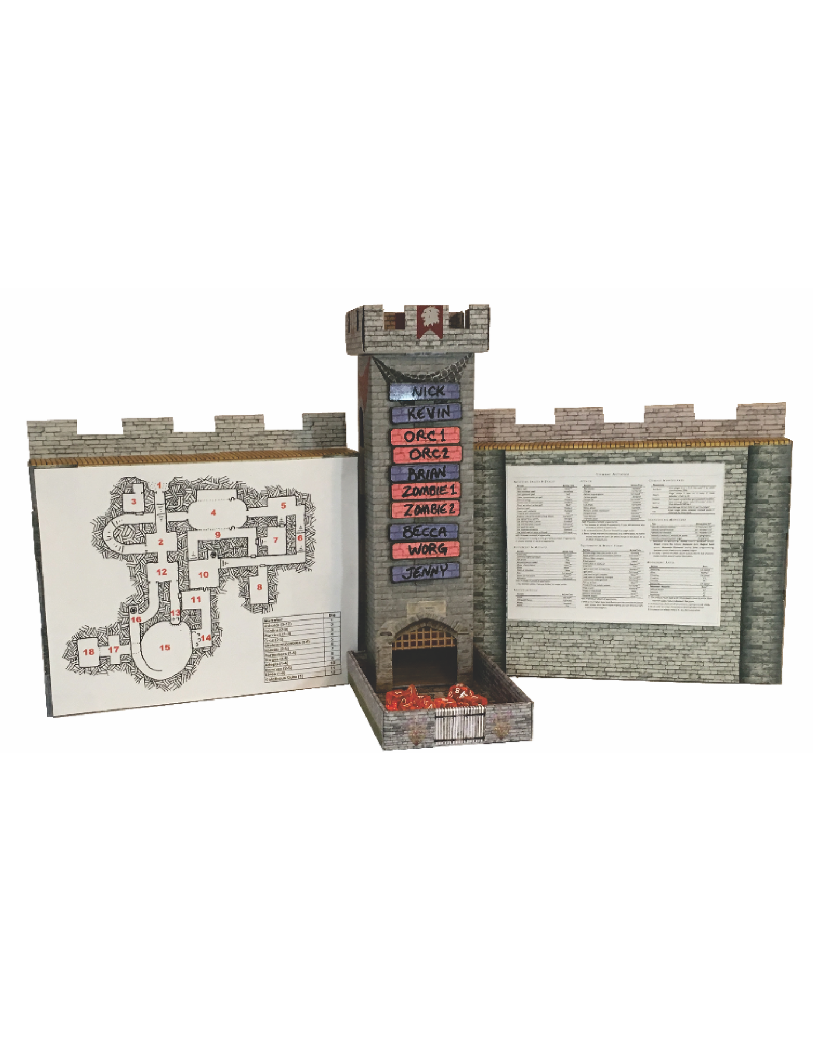 Castle Keep Dice Tower with Initiative Turn Tracker