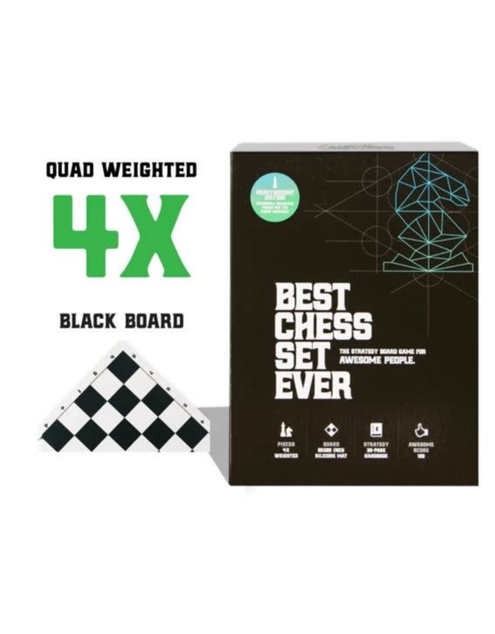 Best Chess Set Ever XL - Black/White Board