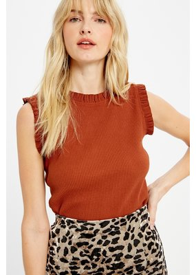 WISHLIST Wishlist Ruffle Rust Top