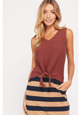 WISHLIST Wishlist Ribbed Knit Tie Front V-Neck Sleeveless Top