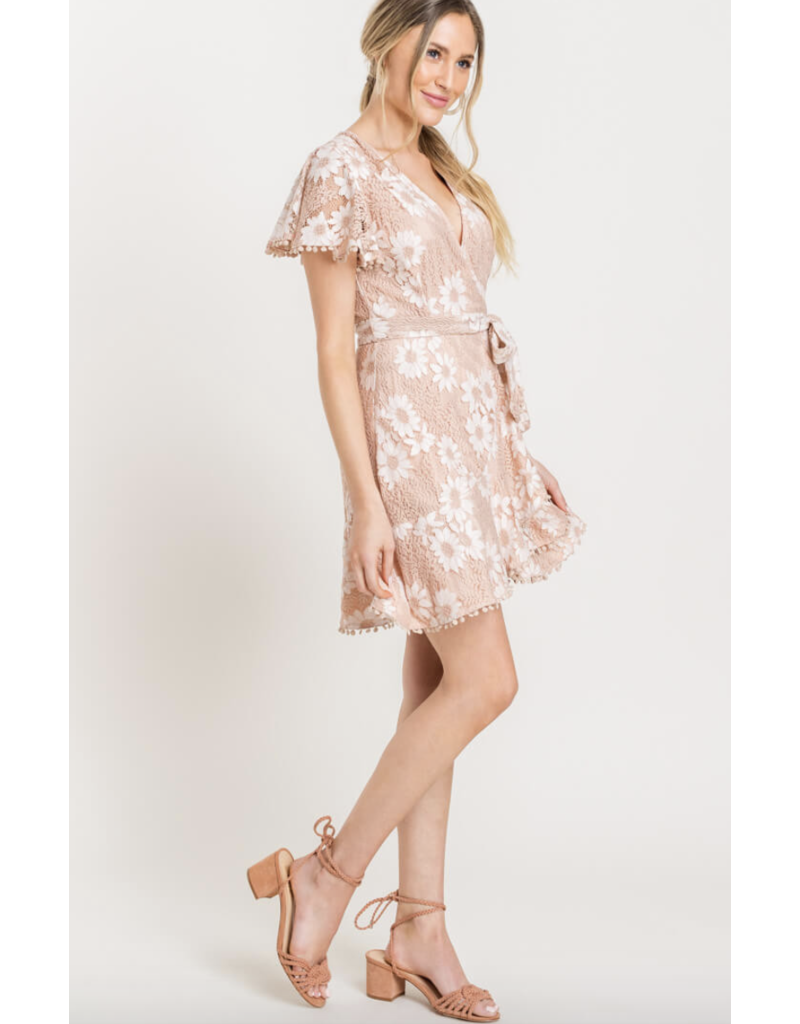 LUSH Lush Lace Embroidered Wrap Mini Dress