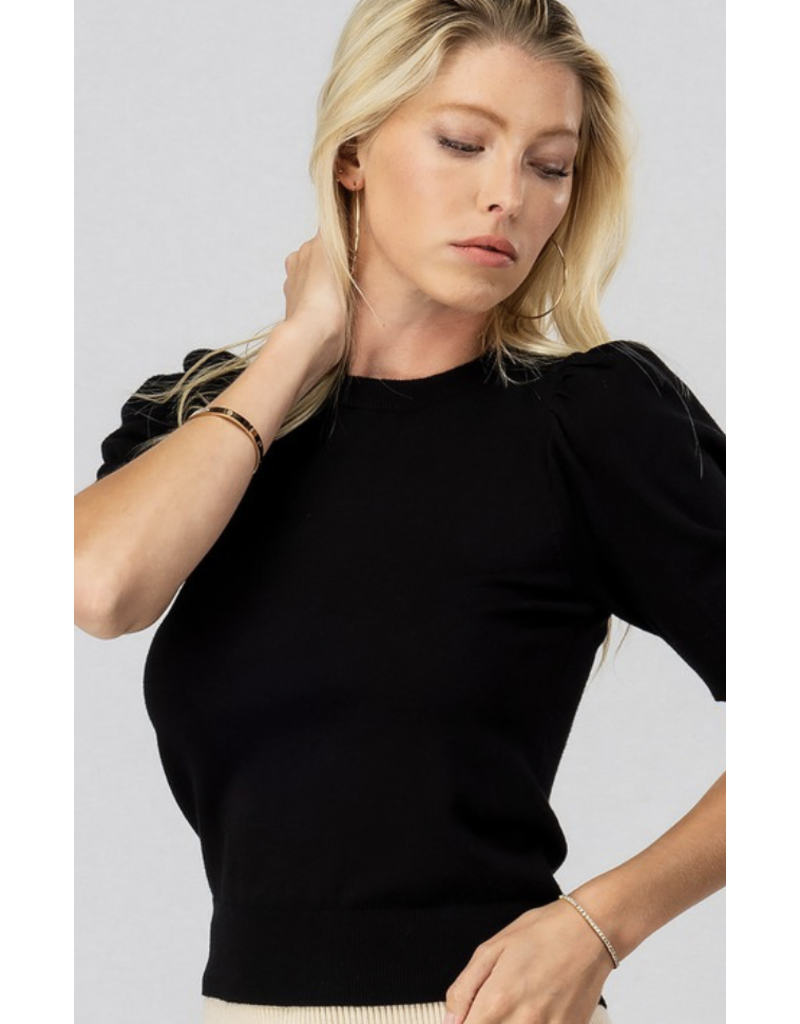 Trend Notes Trend Notes Puff Shoulder Knit Top Black