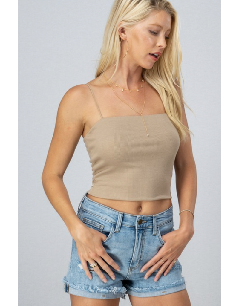 Trend Notes Trend Notes Rib Knit Cami Top Khaki