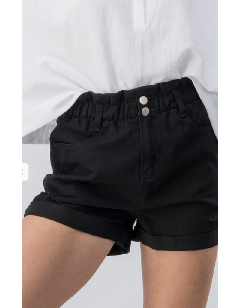 Trend Notes Trend Notes Vinatage Denim High Waist Shorts Black
