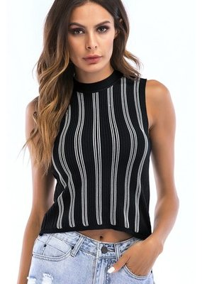 Lily Clothing Lily Clothing Stripe Pattern Top Black