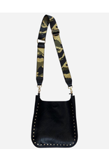 AHDORN Ahdorned Black Vegan Messenger with Gold Studs & Gold Camo Strap