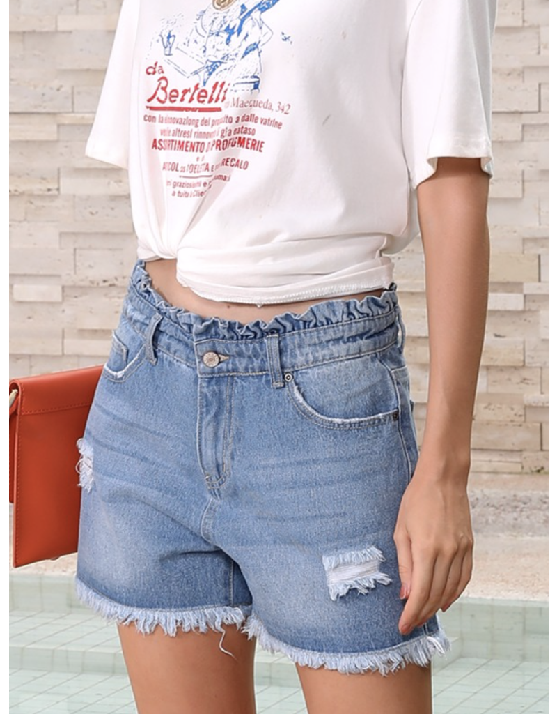 Lily Clothing Lily Clothing Ruffle Waist Denim Shorts