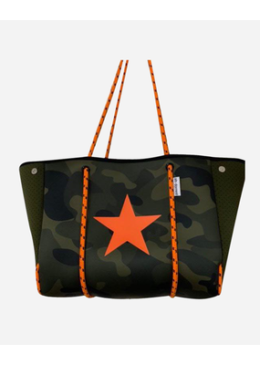 AHDORN Ahdorned Army Camo Neoprene Tote w/Orange Ropes & Star