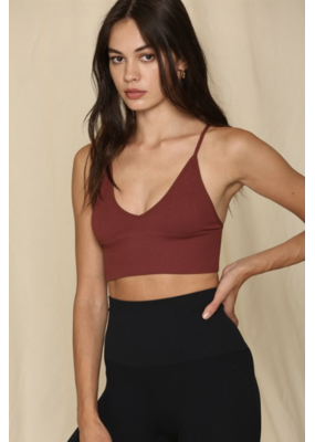 BYTOGETH By Together V Neck Spaghetti Brami with Plunged Back Burgundy