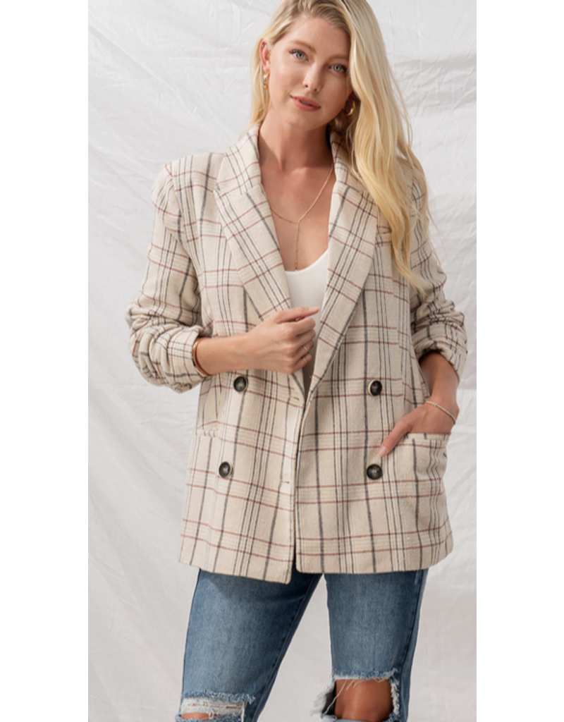 Trend Notes Trendnotes Checkered Button Blazer 0664-0682