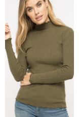 MYSTREE Mystree Corded Mock Neck Pullover Sweater Olive