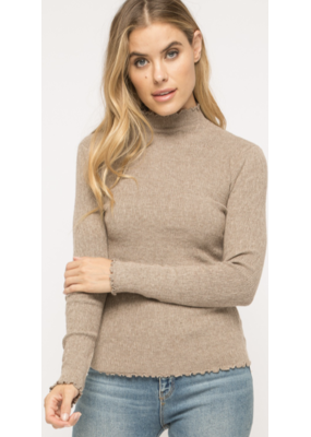 MYSTREE Mystree Corded Mock Neck Pullover Sweater Taupe