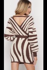 Fashion District LA Fashion District LA Wrap Sweater Dress Brown/White