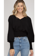 Fashion District LA Fashion District LA Long Crop Blouse Black