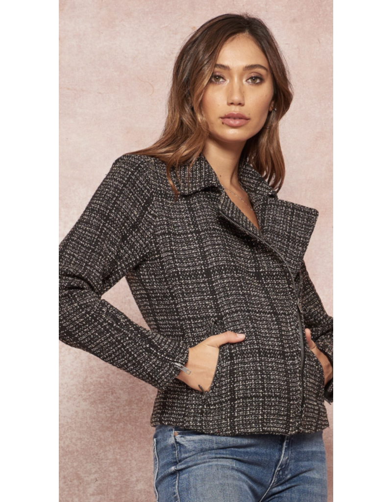 PROMESA Promesa JJ9494 Zip Up Plaid Tweed Pocket Moto Jacket Black-Taupe