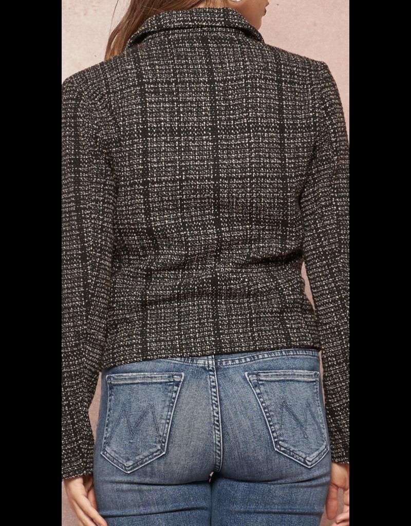 PROMESA Promesa JJ9494 Zip Up Plaid Tweed Pocket Moto Jacket Black-Taupe