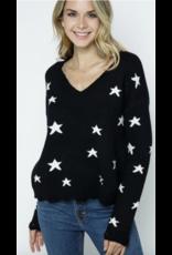 AAAAA fASHION AAAAA Fashion Black V Neck Star Sweater