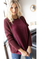 American  Chic Burgundy Sweater Y7354-CU