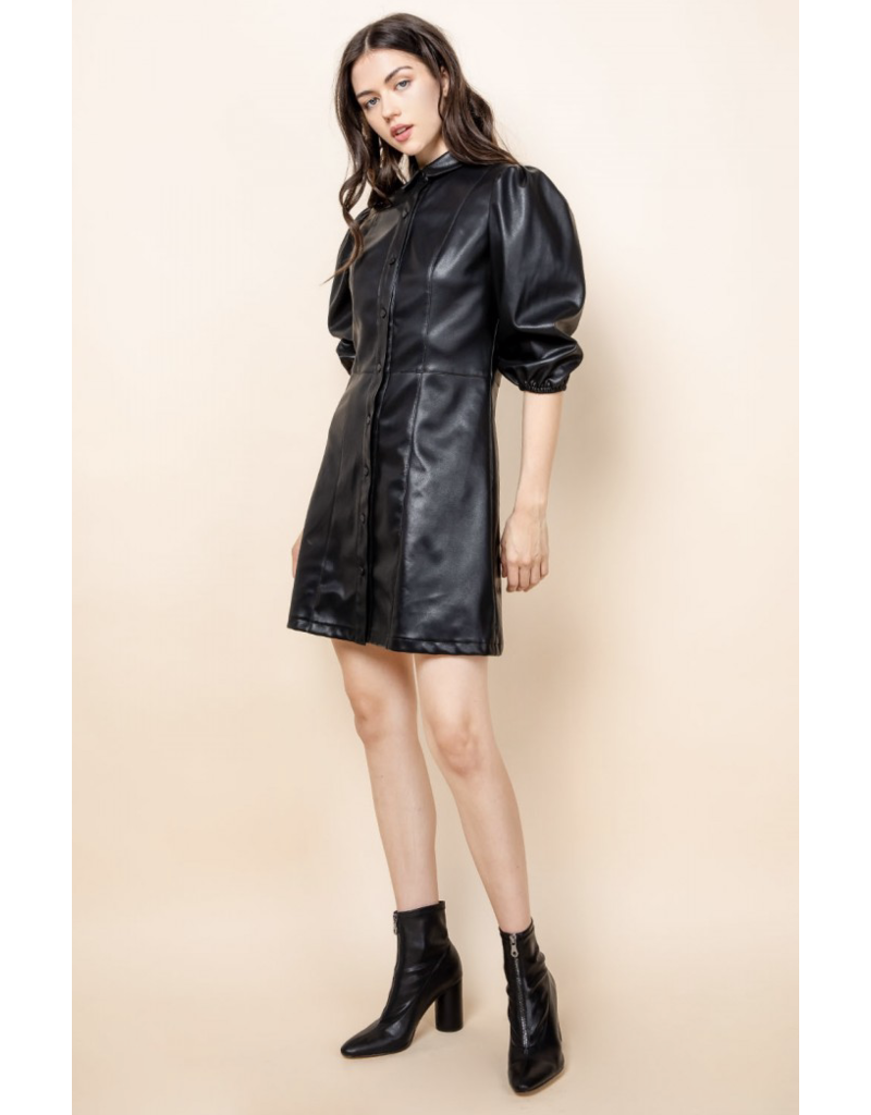 THML THML Black Leather Dress TH50857