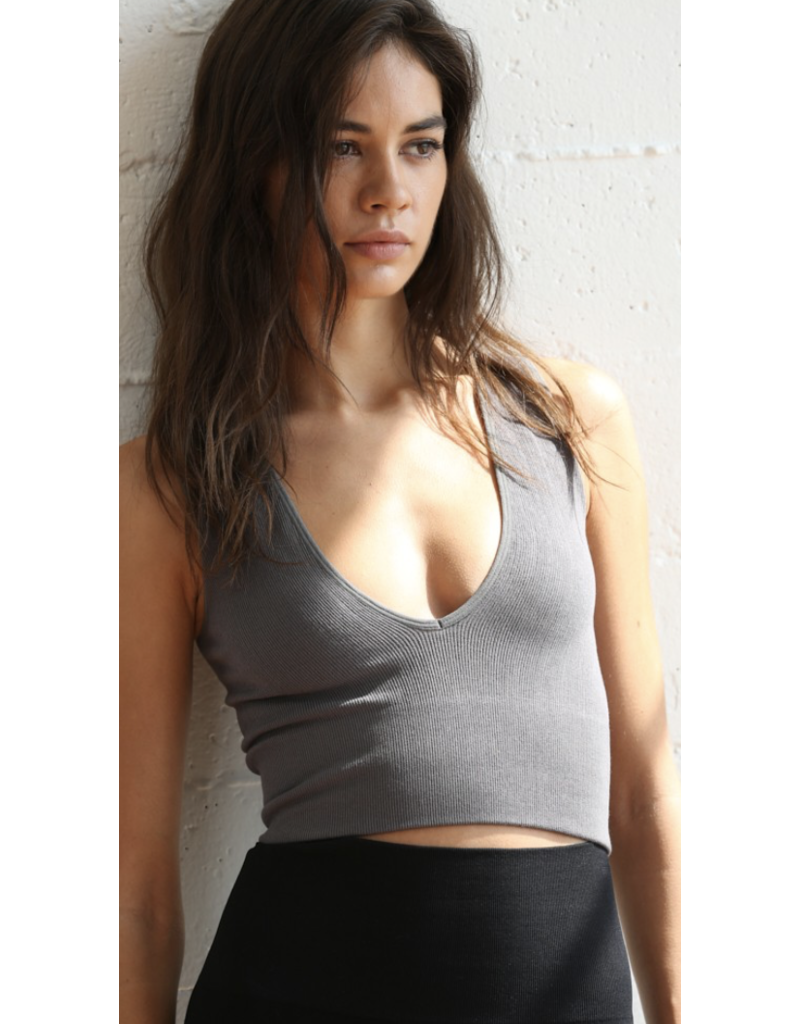 By Together By Together Seamless V Neck Ribbed Crop Tank S1047