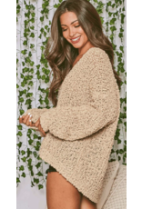 Fantastic Fawn Fantastic Fawn Textured Knit V Neck Sweater IFKT74734-01