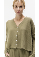 Baevely Baevely Waffle Knit Crop Top BT2249 Olive