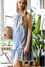 MAZIK Mazik Halter Distressed Denim Dress MK6093
