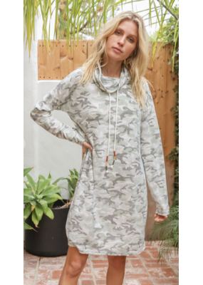 Hem & Thread Hem + Thread Vintage Camo Cowl Neck Dress 30232