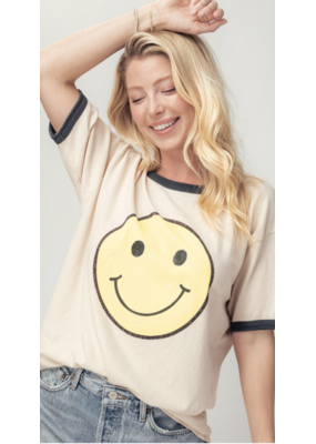 Trend Notes Trend Notes Vintage Wash Happy Face Tee 0459-3729-1