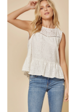 Andree Andree Lace Top with Raw Edge 18895